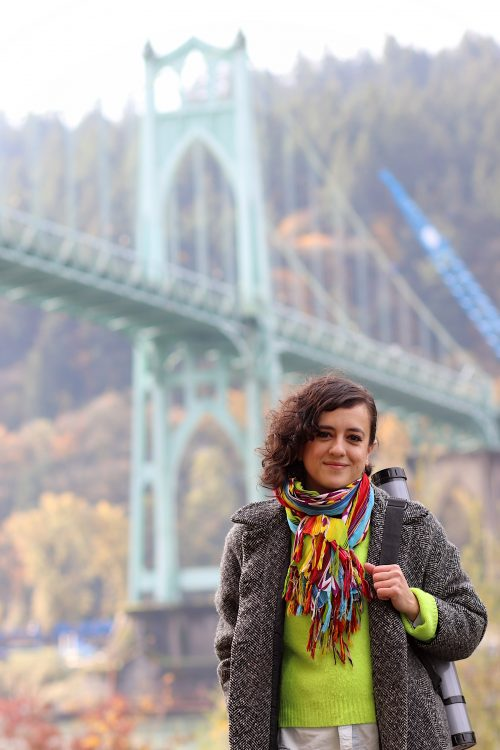 Elizabeth Gomez in front of St. John's Bridge.