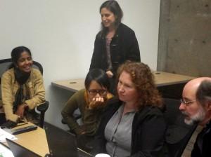 Gayathri, Phyllis, Supada, Angel and Marc testing for screen reader accessibility.