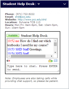 student help desk chat widget