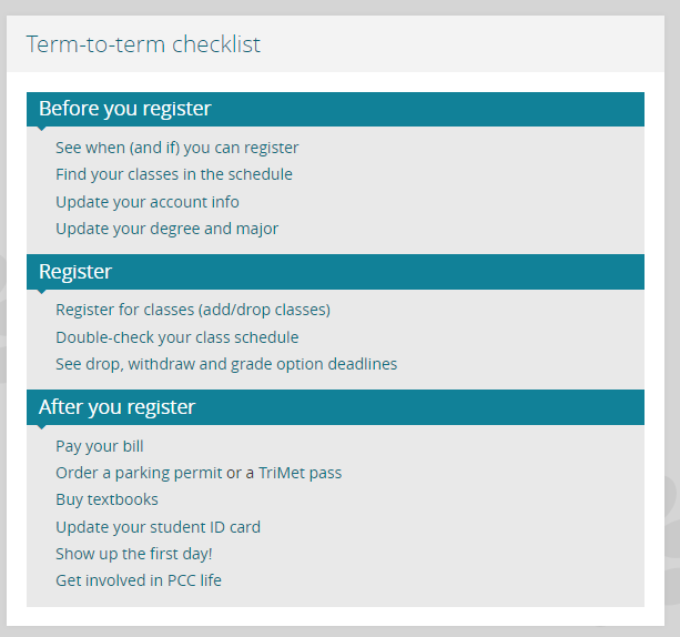 The Term-to-term Checklist on the MyPCC home page