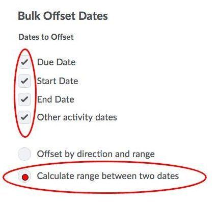 Bulk Offset Dates Pop Up Window