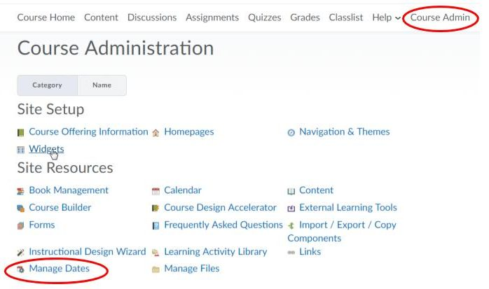 Find Manage Dates tool under Course Admin link on the NavBar