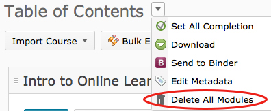Remove all content in your D2L course | Online Learning at PCC