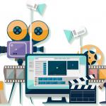 decorative vector illustration of media production elements