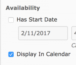 The Display in Calendar check box
