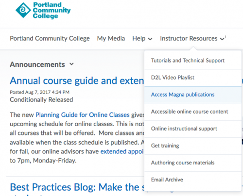 Image shows how to access Magna articles from the D2L home page.
