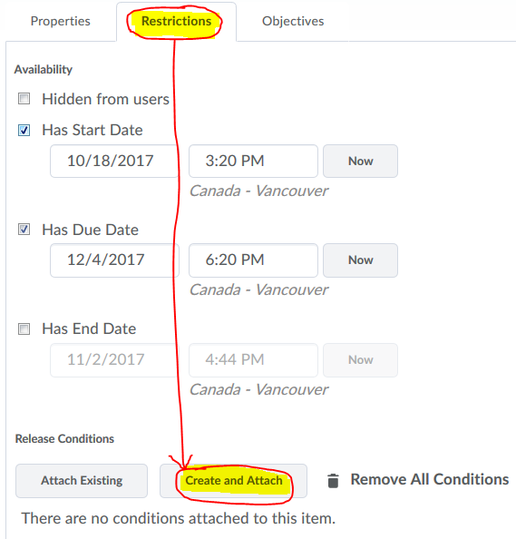 assignments restrictions tab to create release conditions
