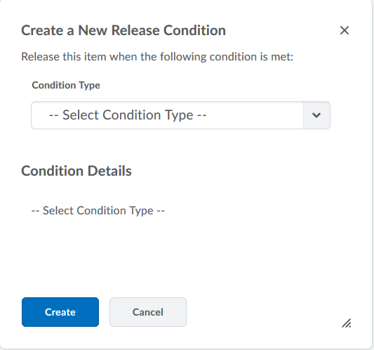 choose release conditions from the list