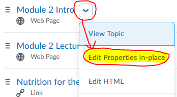 content topic, click edit properties in place