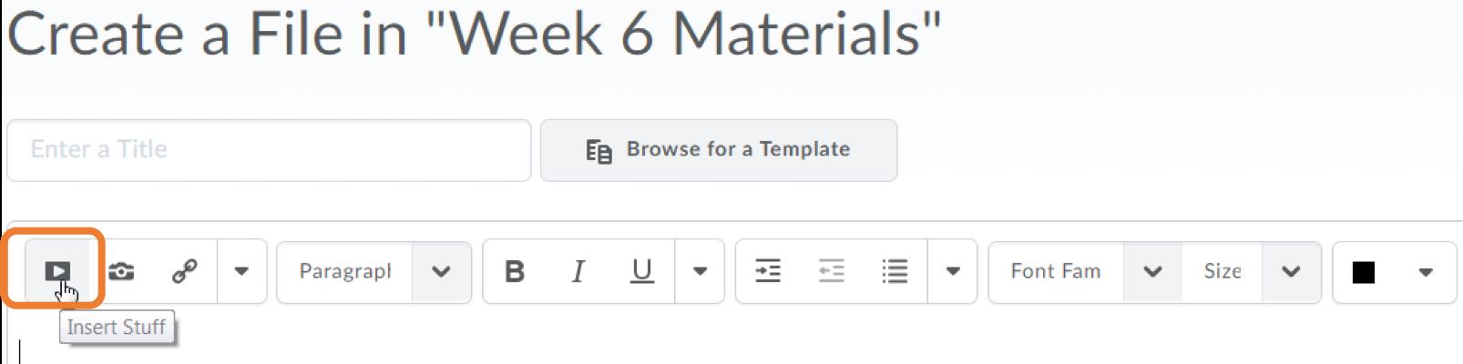 D2L HTML editor Insert Stuff button