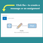 Graphic illustrating the process to create a message or assignment