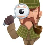 caricature of a sleuth with magnifying glass