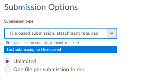 choose text submission as an assignment option.