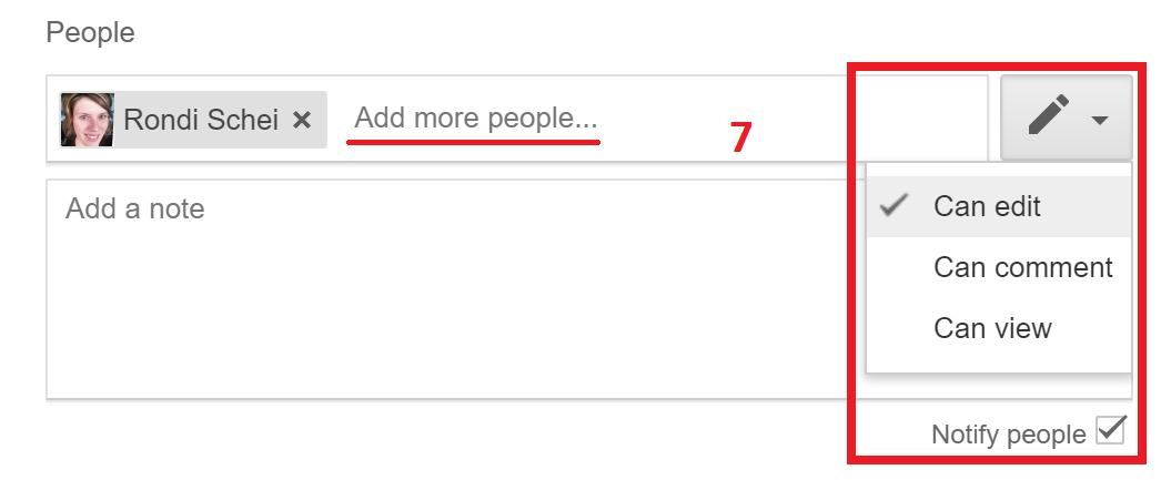 Step 7: Add more people and choose sharing right