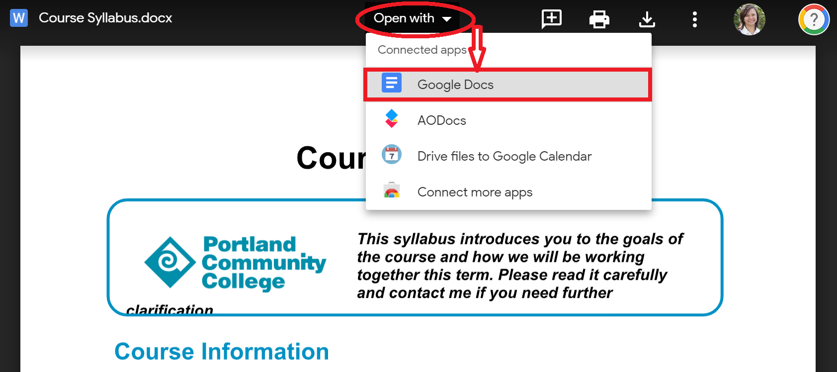Open with and select GoogleDocs