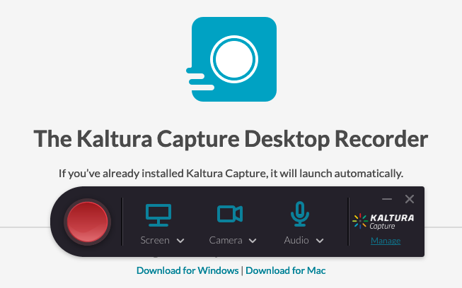 The new capture tool over the My Media launch page