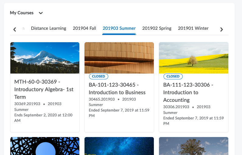 Courses are now organized by the term they are offered in the My Courses widget