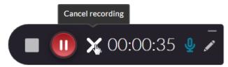 Recording control X button