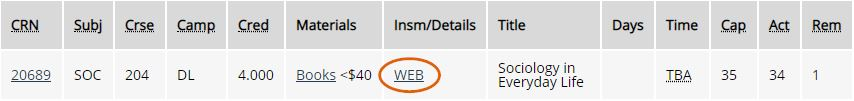 """Course Details links from the """"WEB"""" label when registering in MyPCC"""