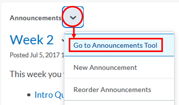 Announcements-Go to Announcements Tool