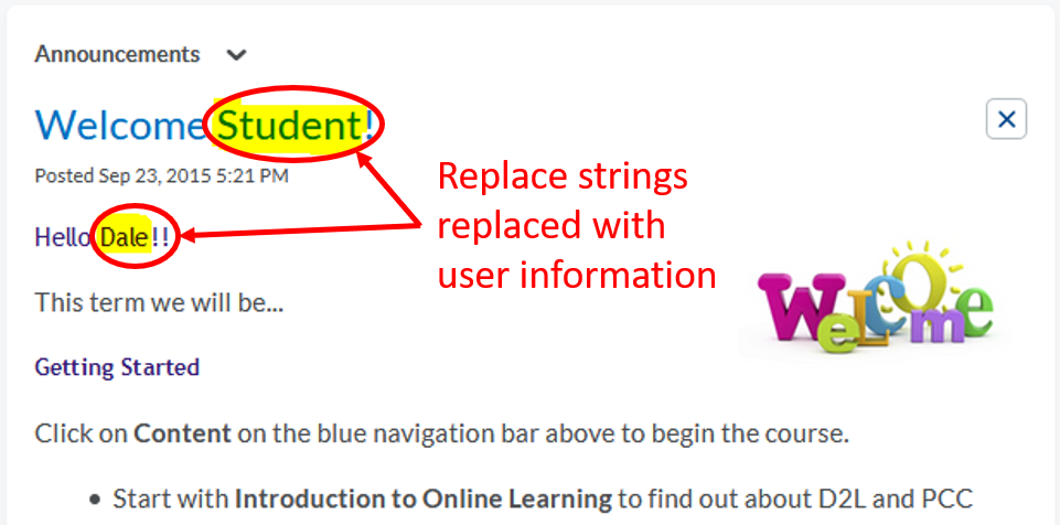 Announcements-Replace Strings-display viewer info
