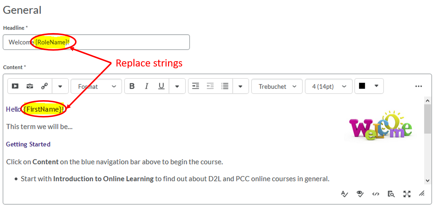 Announcements-add Replace Strings
