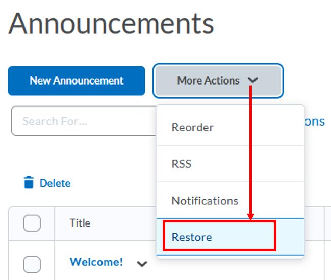 Announcements-restore-deleted announcement