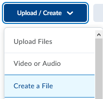Content-upload create button-create a File