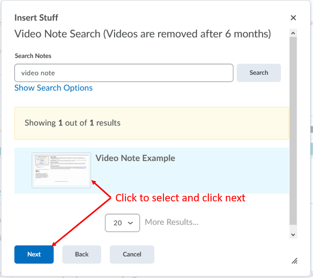 Insert Stuff-Video note search-select video