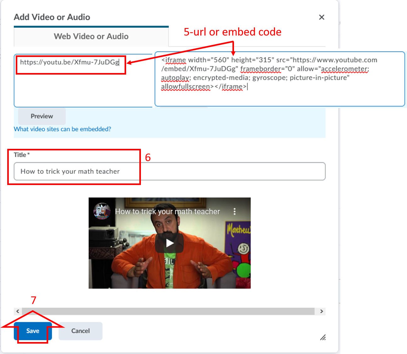 add-video audio link or embed code-in Content