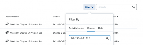 Quick Eval now lets you filter by course