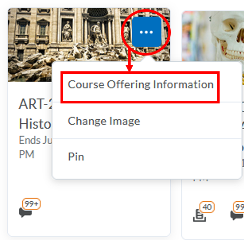 course offering information-from-My Courses widget