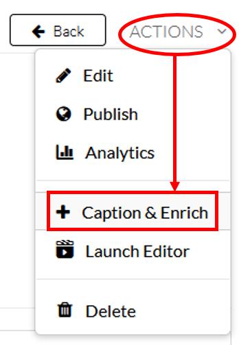 my media's action menu: caption & enrich