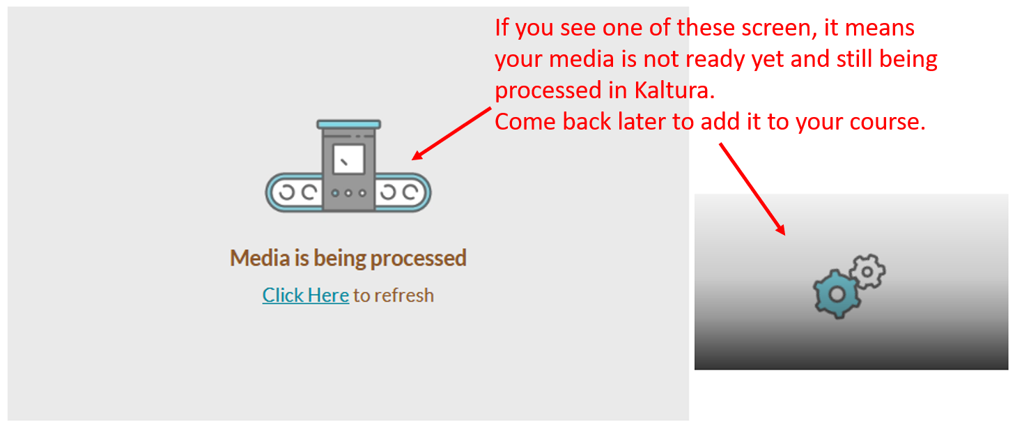 my media: kaltura processing screen