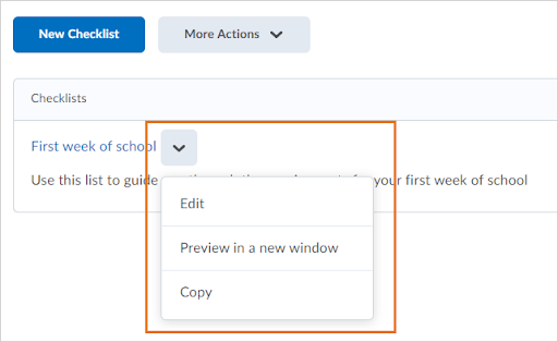 The copy option appears in the drop-down menu for a checklist