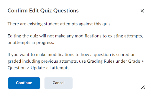 A warning message appears when accessing the Add/Edit Questions workflow