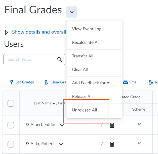 The Unrelease All option appears in the drop-down menu for Final Grades