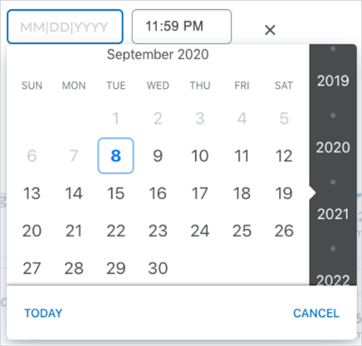 The updated date picker visible in Quick Eval