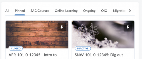 My Courses now has a Pinned category for classes