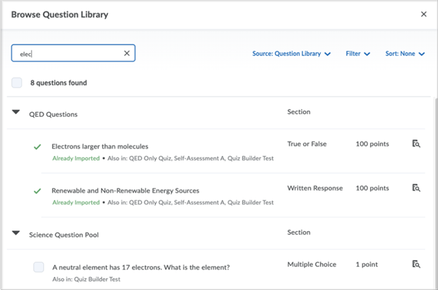 The previous search and select questions capability in Question Library