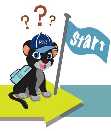 """A cartoon panther with a backpack and PCC baseball cap next to a blue flag that says """"Start"""""""