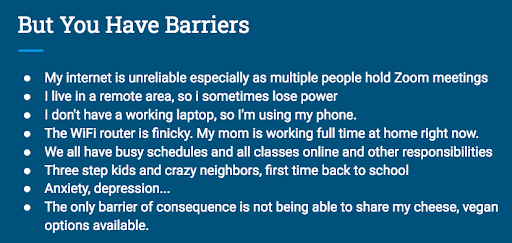 Slide showing input from students about barriers to meeting in Zoom