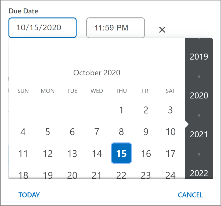 Old date picker component on the Create and Edit Assignments page
