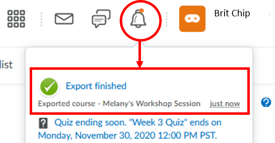 d2l export: bell notification-export finished