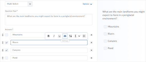 Question text and answers in the new multi-select question experience