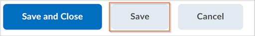 The Save button in the new assignment creation experience