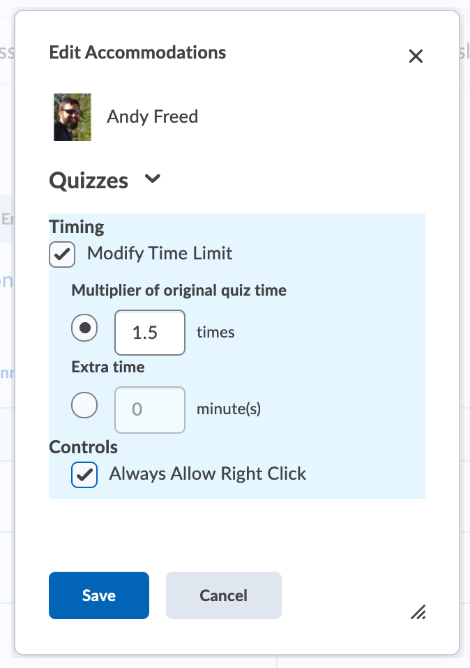 The accommodations window allows you to add time multipliers for all quizzes at once.