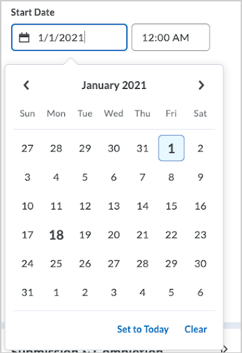 When the date picker is open, the field to which it applies is highlighted and the picker dialog points to the field.