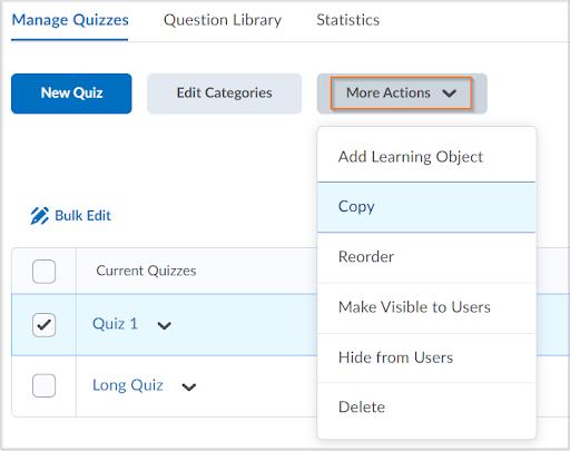 The original copy quiz workflow