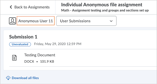 Anonymous marking in Assignments displays learners as Anonymous User [#] instead of by username.